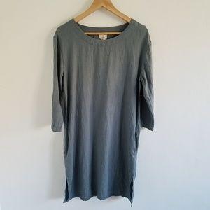 Dr.Flax 100%Linen Teal Shift Dress Size S/M